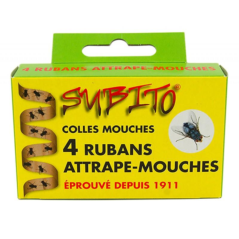 Rubans attrape-mouches auto-collants à suspendre 4 rouleaux de Subito | Insecticide Antinuisible Qualité Professionnelle