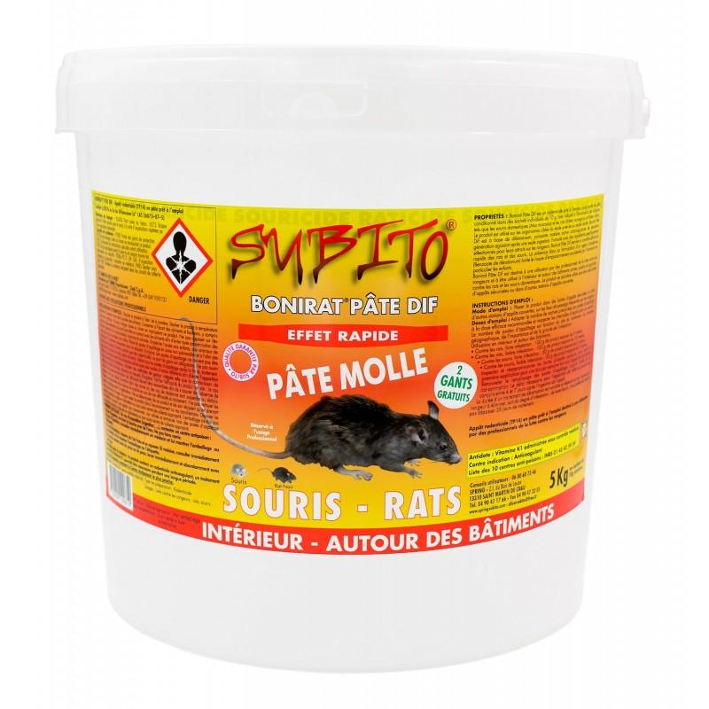 Bonirat pâte DIF raticide souricide pâte molle seau de 5 kg de Subito | Insecticide Antinuisible Qualité Professionnelle