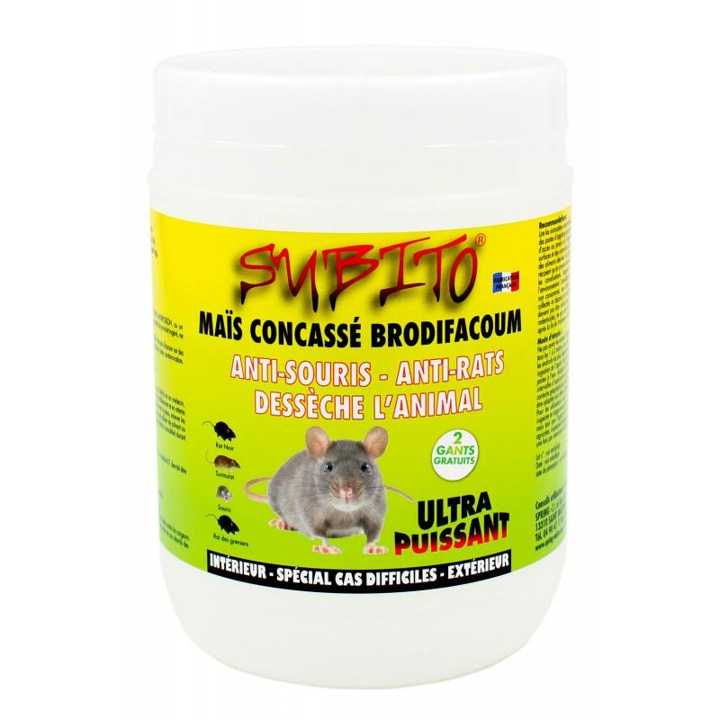 Maïs concassé Brodifacoum anti-rats et anti-souris ultra-puissant 150g Subito | Insecticide Antinuisible Qualité Professionnelle