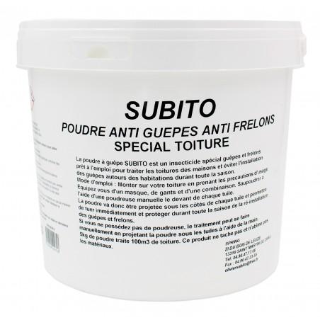 Poudre anti-guêpes et frelons spécial toitures seau de 5 kg Subito | Insecticide Antinuisible Qualité Professionnelle