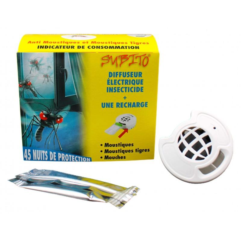 Diffuseur électrique insecticide anti-moustiques + 1 recharge 45 nuits de Subito | Insecticide Antinuisible Qualité Pro