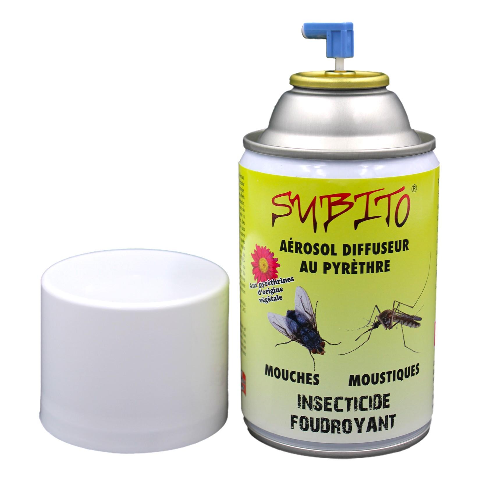 Aérosol diffuseur au Pyrèthre insecticide mouches et moustiques de Subito | Insecticide Antinuisible Qualité Professionnelle
