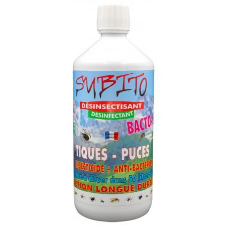 Bacto S désinsectisant et désinfectant anti-tiques et anti-puces 1L Subito | Insecticide Antinuisible Qualité Professionnelle
