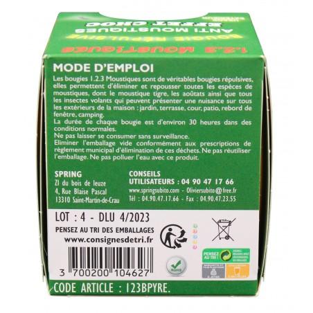 123 Moustiques Bougies répulsive anti-moustiques au Pyrèthre 30h   Insecticide Antinuisible Qualité Professionnelle